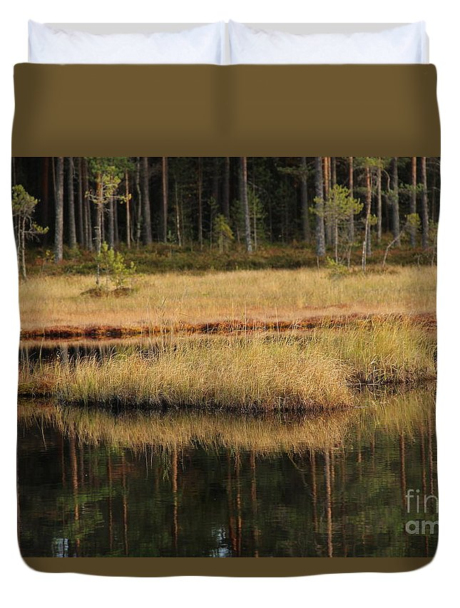 Lake Duvet Cover featuring the photograph Small Forest Lake In Autumn by Kerstin Ivarsson