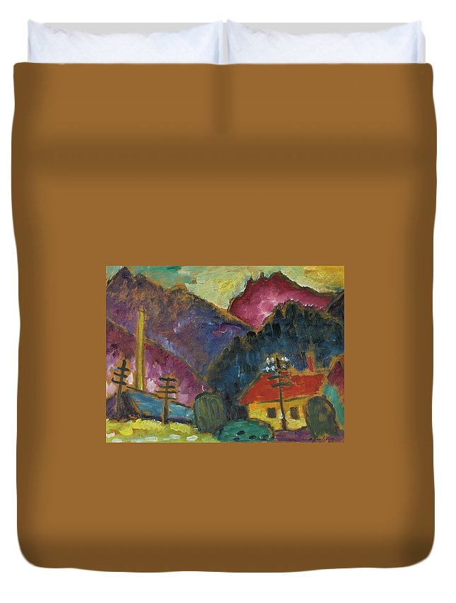 Alexej Von Jawlensky 1864 - 1941 Small Landscape With Telegraph Masts 1912 Duvet Cover featuring the painting Small Landscape With Telegraph by MotionAge Designs