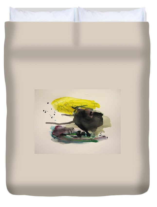 Abstract Paintings Duvet Cover featuring the painting Small Landscape16 by Seon-Jeong Kim