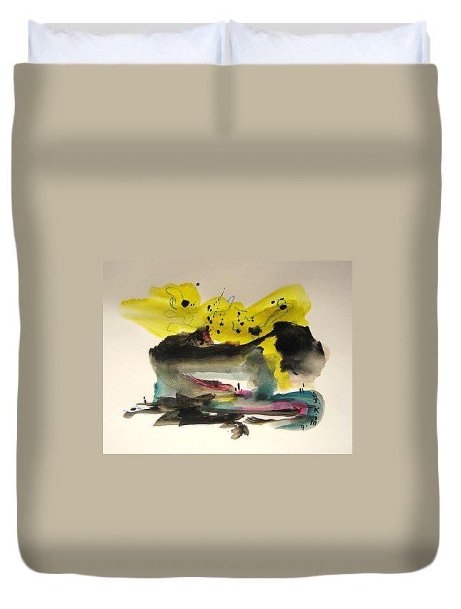 Aabstract Paintings Duvet Cover featuring the painting Small Landscape17 by Seon-Jeong Kim