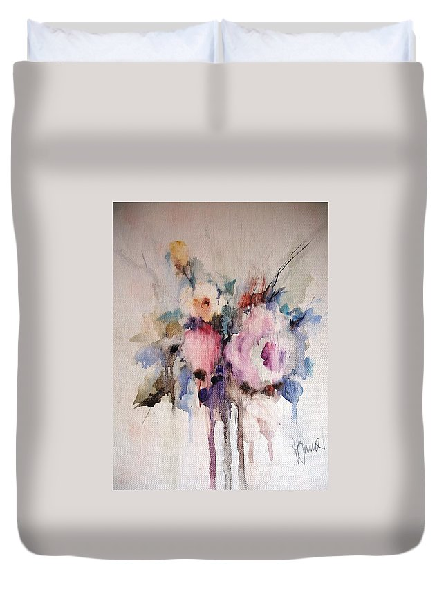 Floral Duvet Cover featuring the painting Small Roses by Vesna Grundler