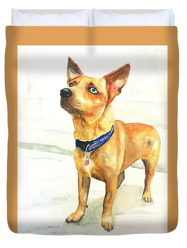 Dog Watercolor Duvet Cover featuring the painting Small Short Hair Brown Dog by Carlin Blahnik CarlinArtWatercolor