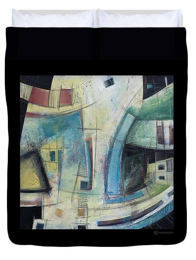Abstract Duvet Cover featuring the painting Small Town Blues by Tim Nyberg