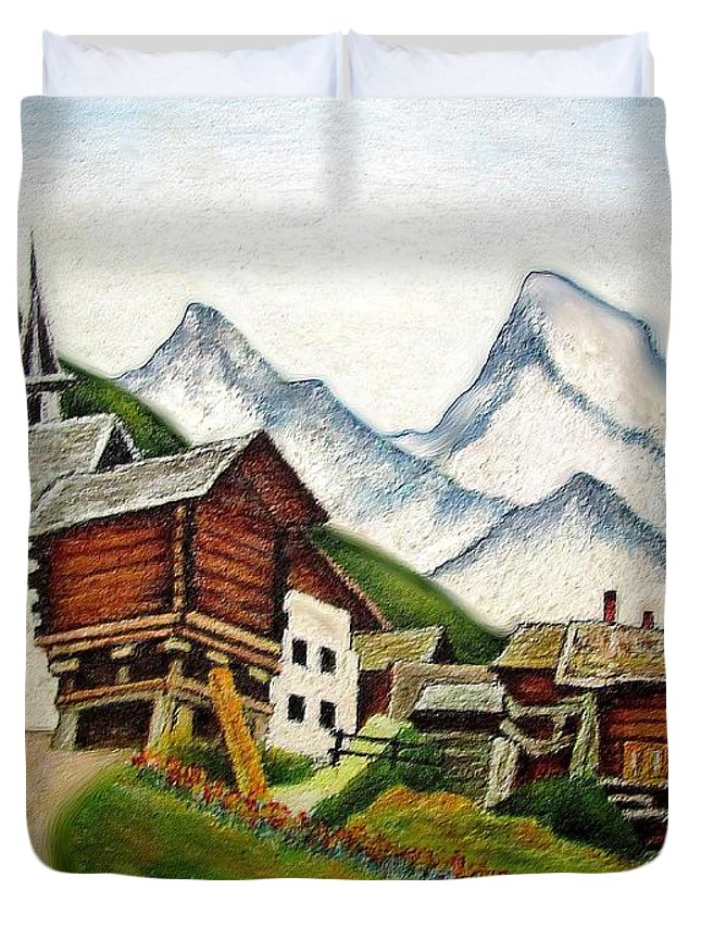 Town Duvet Cover featuring the painting Small Town by Rafi Talby