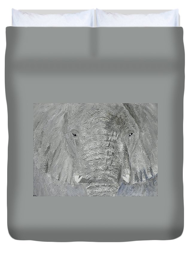 Elephant; Young Elephant; Grey Elephant; Elephant Close Up; Elephant Head; Tusks; Animals; Endangered Animals;african Animals Duvet Cover featuring the painting Small Tusks by Shirley Wilberforce