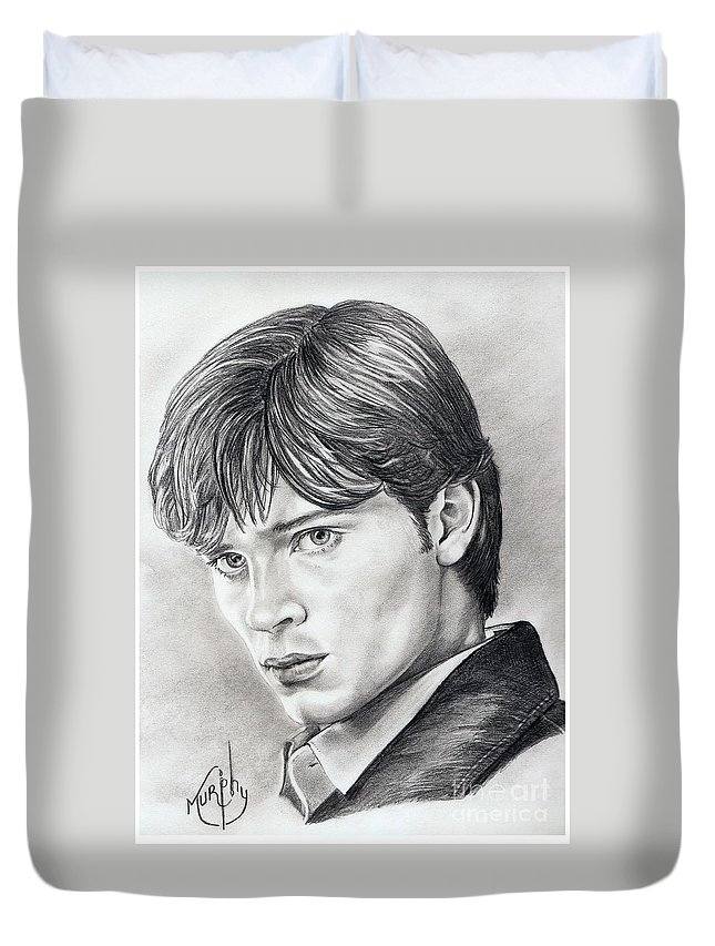 Superman Duvet Cover featuring the drawing Smallville Tom Welling by Murphy Elliott