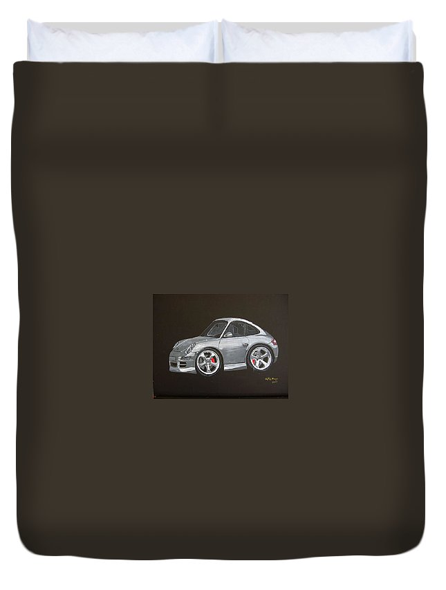 Car Duvet Cover featuring the painting Smart Porsche by Richard Le Page