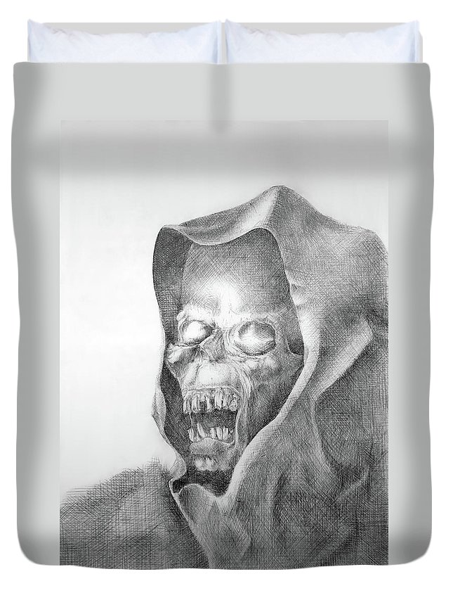 Duvet Cover featuring the drawing Smile by Georgy Chobanov