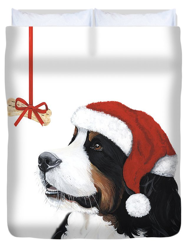 Bernese Mountain Dog Duvet Cover featuring the painting Smile Its Christmas by Liane Weyers