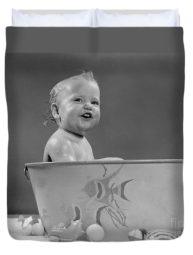 Smiling Baby In Bath Tub, C.1940-50s Duvet Cover for Sale by H ...