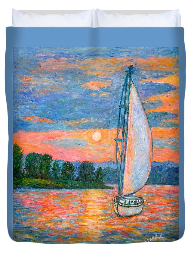 Kendall Kessler Duvet Cover featuring the painting Smith Mountain Lake by Kendall Kessler
