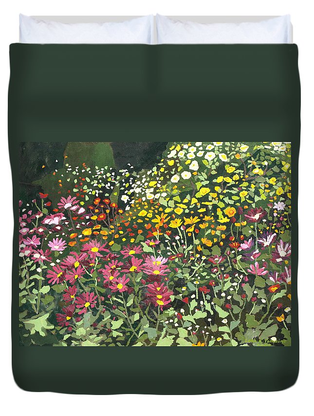 Floral Duvet Cover featuring the painting Smith Mums by Leah Tomaino