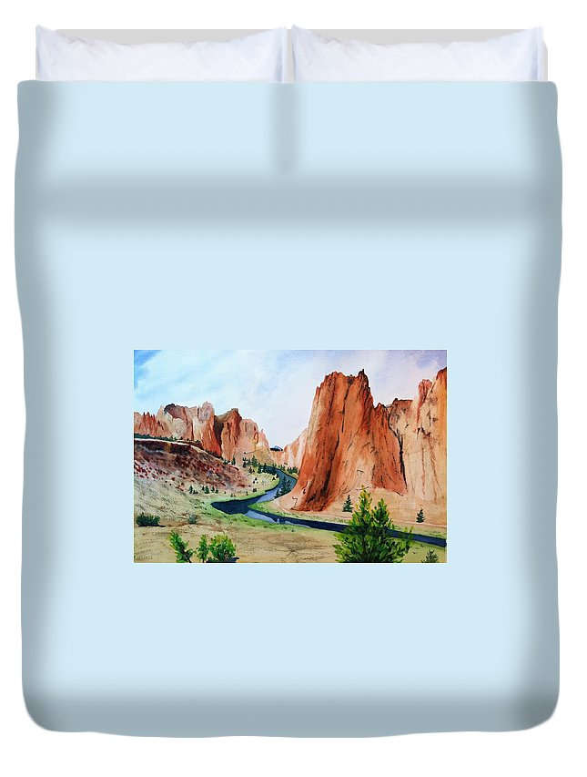 Rocks Duvet Cover featuring the painting Smith Rock State Park by Karen Stark