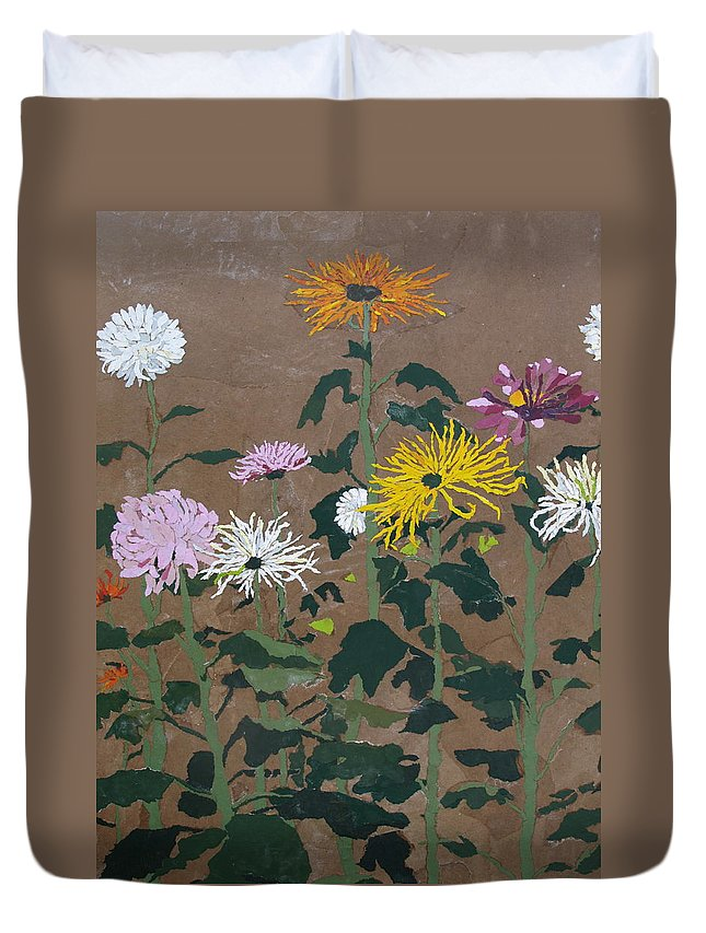 Collage Duvet Cover featuring the painting Smith's Giant Chrysanthemums by Leah Tomaino