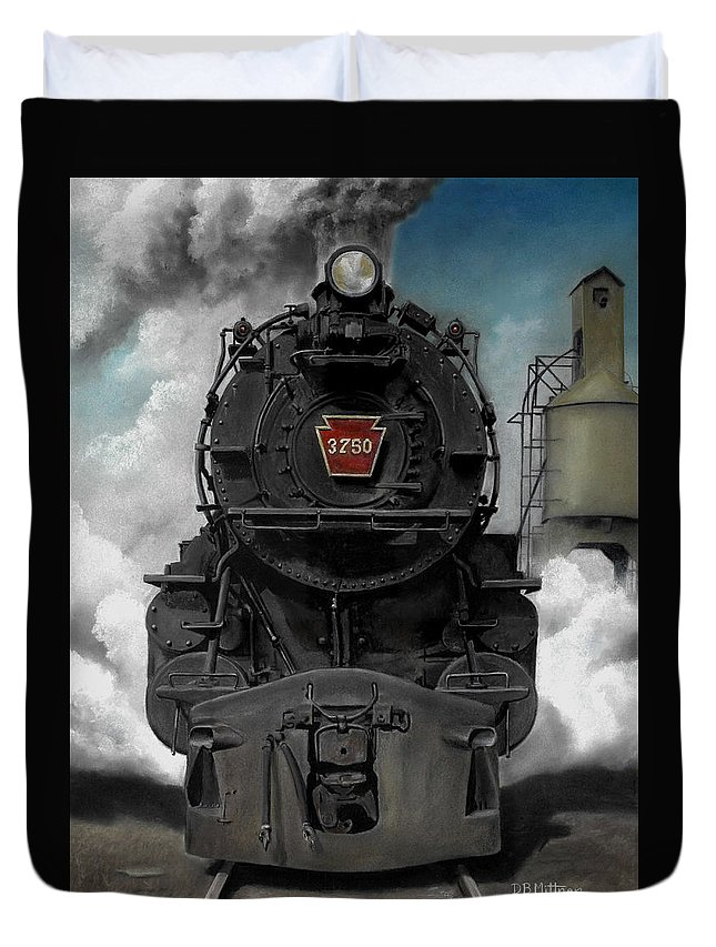 Trains Duvet Cover featuring the painting Smoke And Steam by David Mittner
