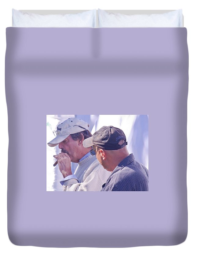 Men Duvet Cover featuring the photograph Smoke Break by Donna Walsh