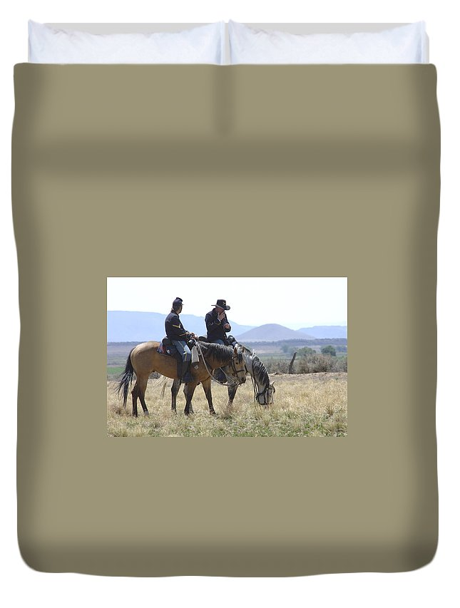 Cowboys Duvet Cover featuring the photograph Smoke Break by Jerry McElroy