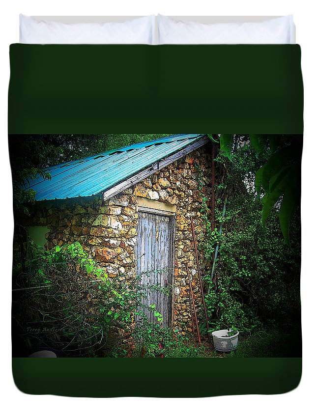Smoke Duvet Cover featuring the photograph Smoke House by Terry Anderson