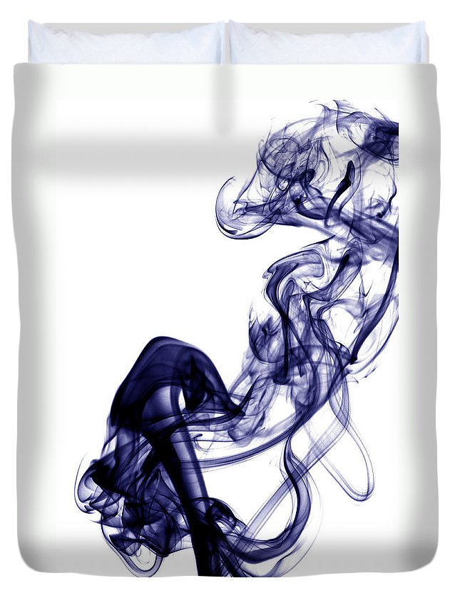 Photography Duvet Cover featuring the photograph Smoke Photography - Blue by Alexander Butler