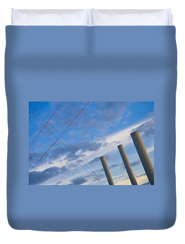 Blue Duvet Cover featuring the photograph Smoke Stax by Skip Hunt