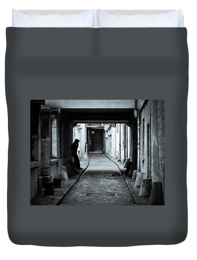 Black And White Duvet Cover featuring the photograph Smoker by Sophia Pagan