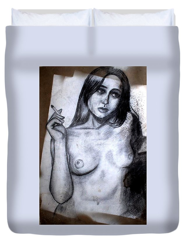 Nude Duvet Cover featuring the drawing Smoker by Thomas Valentine