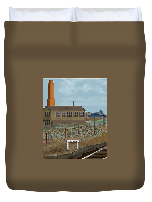 Camp Vocation Duvet Cover featuring the painting Smokestack And Heart Mountain At Camp Vocation by Anne Norskog