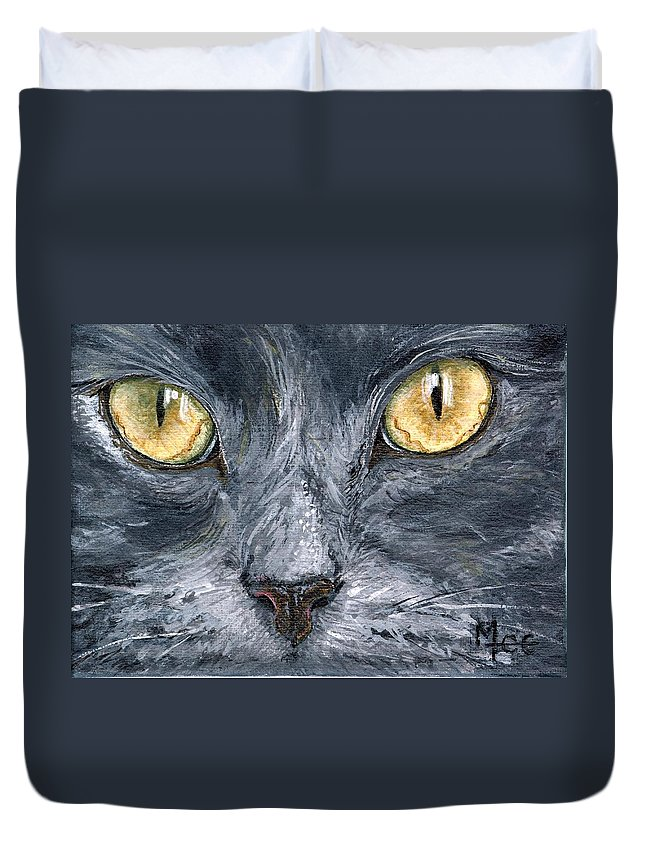 Charity Duvet Cover featuring the painting Smokey by Mary-Lee Sanders