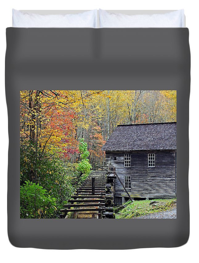 Smokey Mountain Grist Duvet Cover featuring the photograph Smokey Mountain Grist Mill by Jennifer Robin