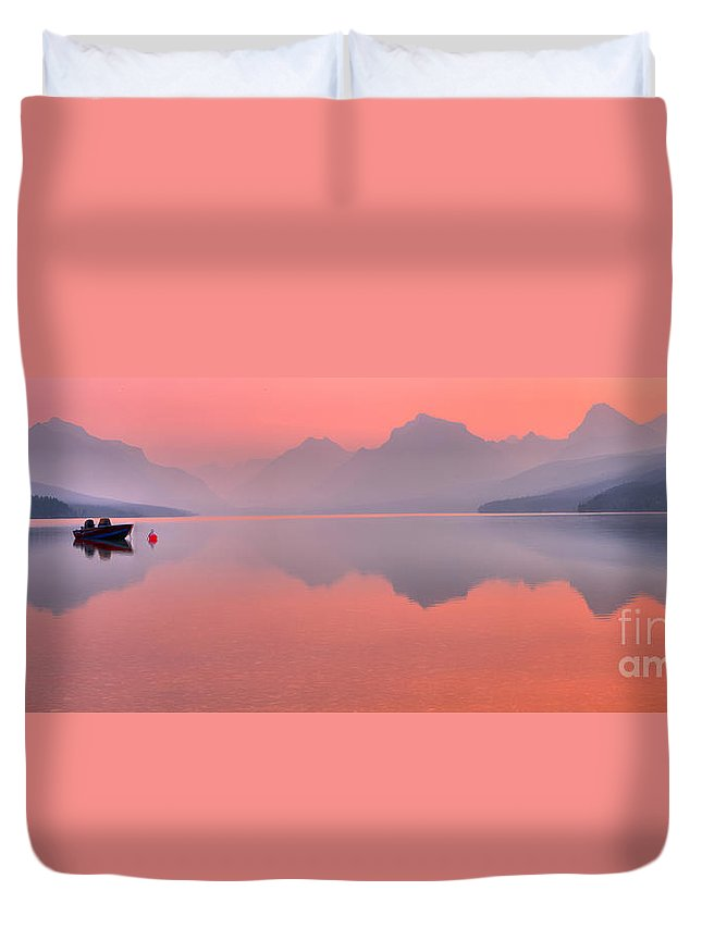 Lake Mcdonald Duvet Cover featuring the photograph Smokey Pink Over Lake Mcdonald by Adam Jewell
