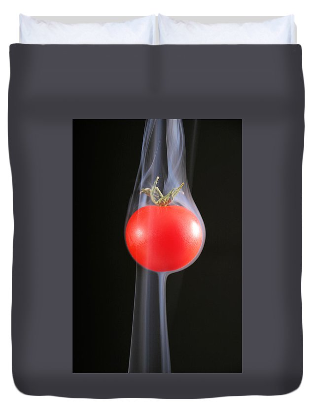 Cherry Duvet Cover featuring the photograph Smoking Tomato by Avril Christophe