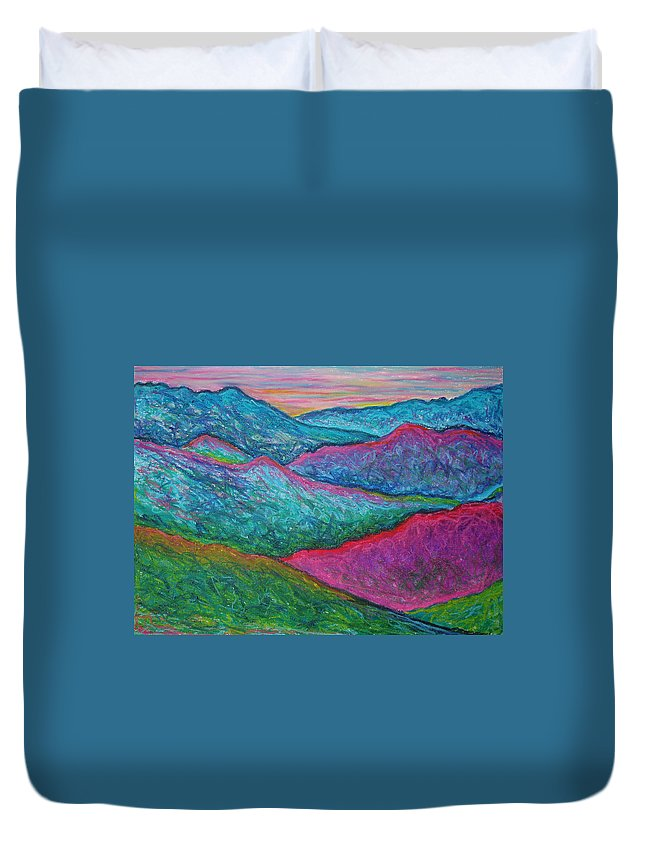 Oil Pastels Duvet Cover featuring the painting Smoky Mountain Abstract by Nancy Mueller