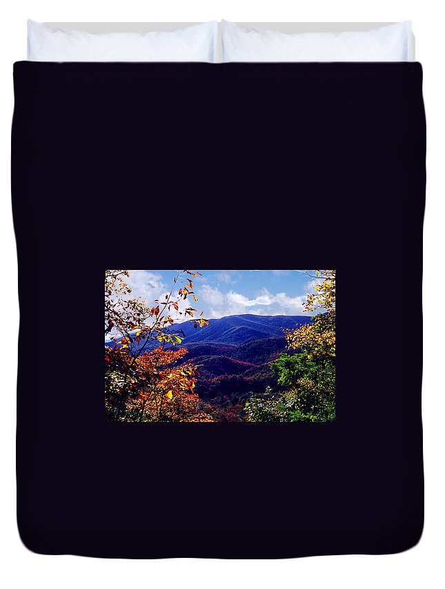 Mountain Duvet Cover featuring the photograph Smoky Mountain Autumn View by Nancy Mueller