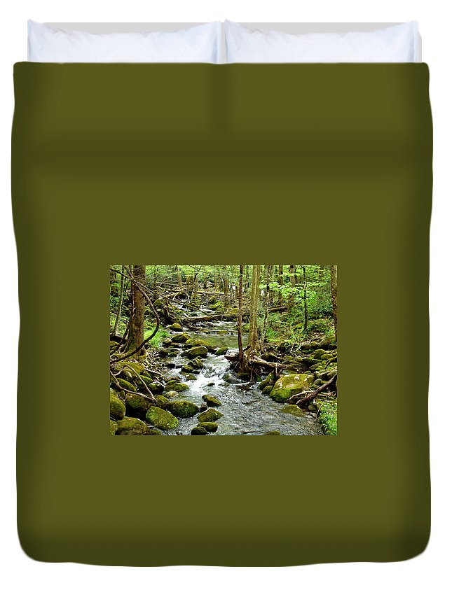 Smoky Mountains Duvet Cover featuring the photograph Smoky Mountain Stream 1 by Nancy Mueller
