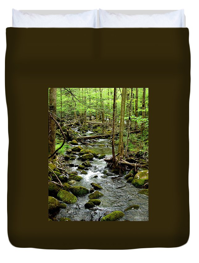 River Duvet Cover featuring the photograph Smoky Mountain Stream 2 by Nancy Mueller