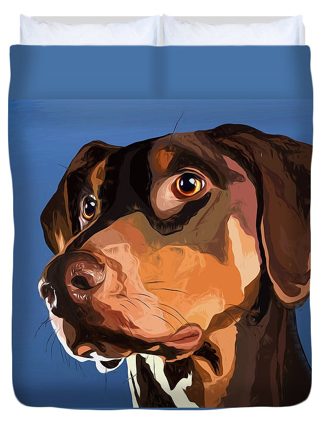 Miniature Dachshund Duvet Cover featuring the mixed media Smooth Dachshund by Alexey Bazhan