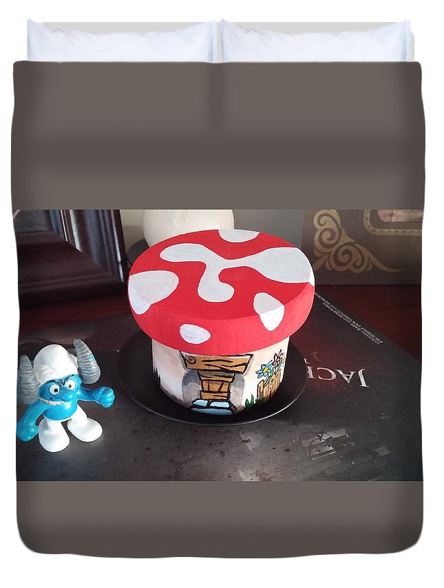 Smurfs Duvet Cover featuring the painting Smurf House by Jennifer Hotai