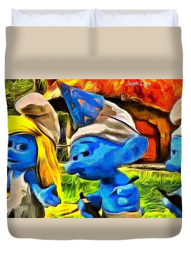 Smurf Duvet Cover featuring the digital art Smurfette And Friends - Da by Leonardo Digenio