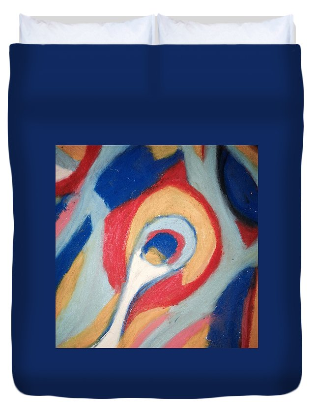 Chalk Duvet Cover featuring the pastel Snail Pace by Roy Hummel