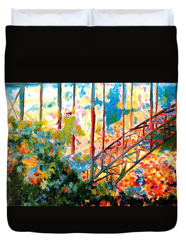 Bridge Duvet Cover featuring the painting Snake River Bridge by Catherine Sprague