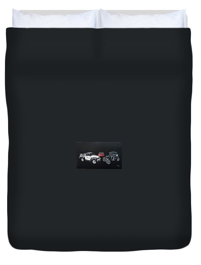 Trucks Duvet Cover featuring the painting Snap-on Ford Trucks by Richard Le Page