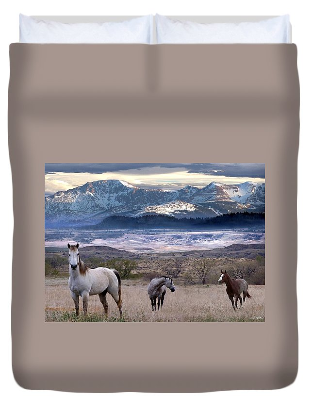 Horses Duvet Cover featuring the digital art Snapshot by Bill Stephens