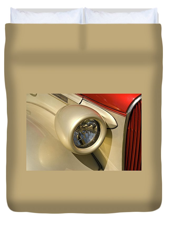 Ford Duvet Cover featuring the photograph Snazzy Headlamp On Antique Car by Douglas Barnett