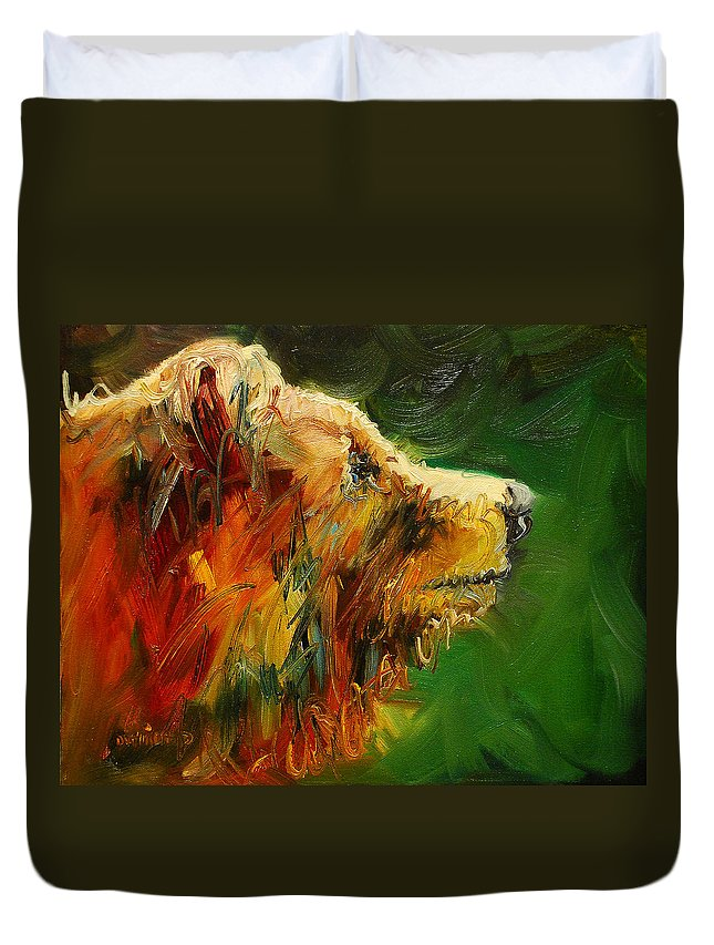 Bear Duvet Cover featuring the painting Sniffing For Food Bear by Diane Whitehead