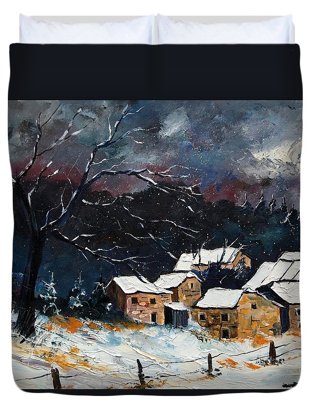 Snow Duvet Cover featuring the painting Snow 57 by Pol Ledent