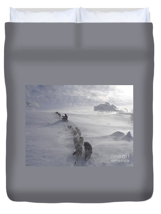Landscape Duvet Cover featuring the photograph Snow And Clouds by Sarah Bevard
