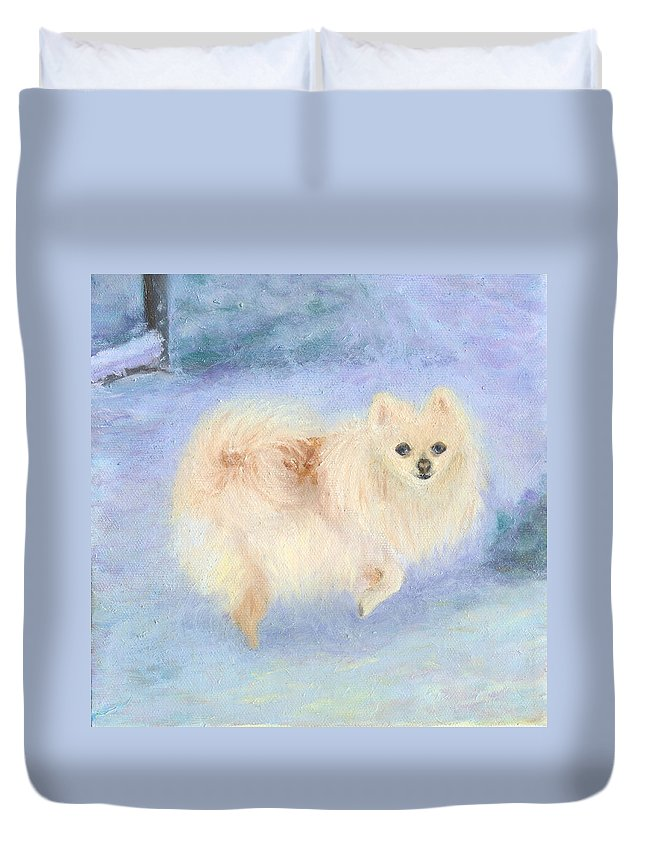 Dog Duvet Cover featuring the painting Snow Angel by Paula Emery
