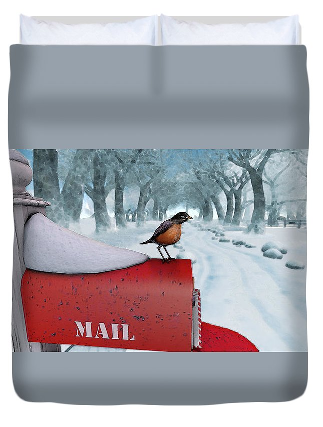 Snow Duvet Cover featuring the digital art Snow Bird by Brainwave Pictures