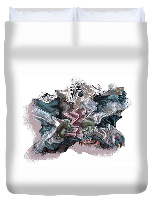 Abstract Duvet Cover featuring the digital art Snow Capped Cloth by Ron Bissett