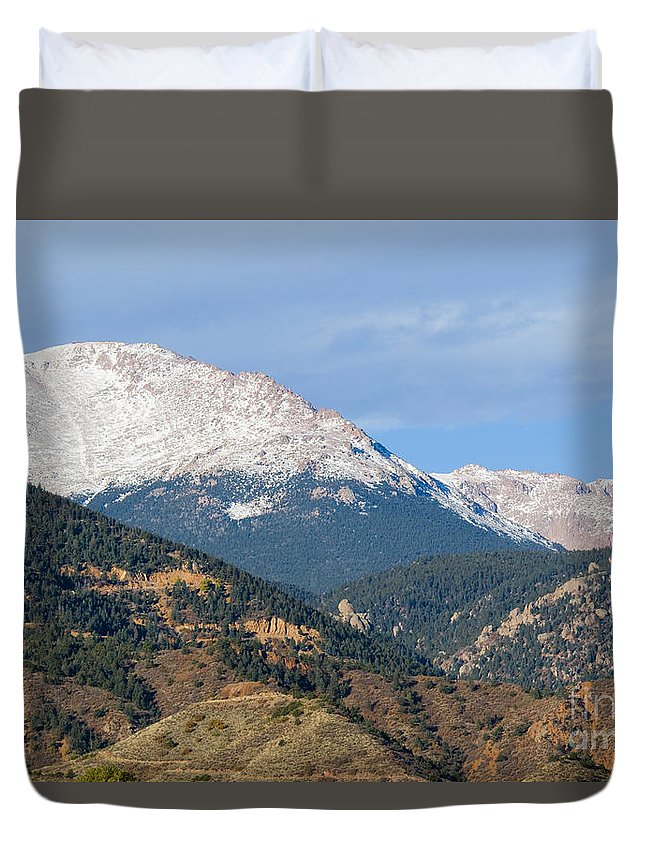 Pikes Peak Duvet Cover featuring the photograph Snow Capped Pikes Peak Colorado by Steve Krull